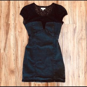 Silence + Noise Denim and Lace Dress Small Urban